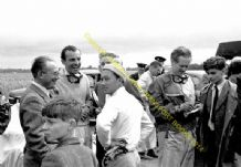 David Brown , Harry Schell, B Bira, Baron de Graffenried. Silverstone paddock 1952